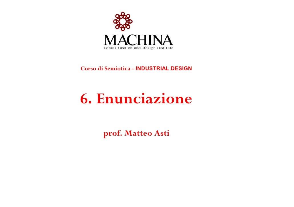 Corso di Semiotica - INDUSTRIAL DESIGN6. Enunciazione       prof. Matteo Asti