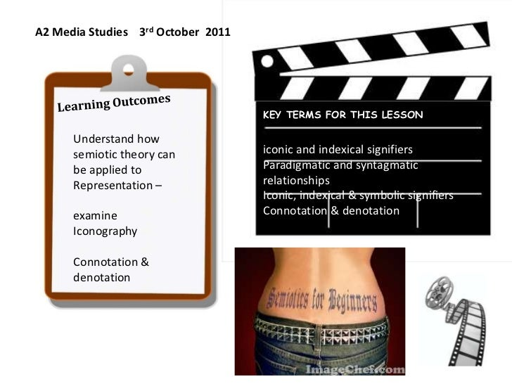 A2 Media Studies    3rd October  2011<br />Learning Outcomes<br />Understand how semiotic theory can be applied to  Repres...