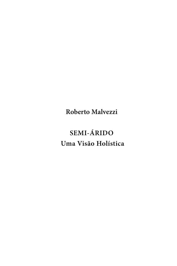 Roberto Malvezzi    SEMI-ÁRIDO Uma Visão Holística