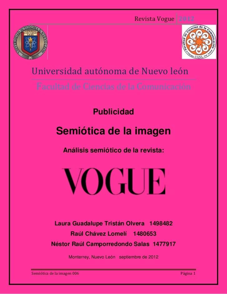 Revista Vogue 2012Universidad autónoma de Nuevo león  Facultad de Ciencias de la Comunicación                             ...
