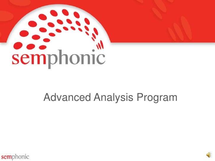 Advanced Analysis Program<br />