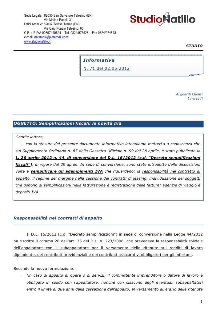 STUDIO NATILLO / Sempificazioni fiscali  le novita iva