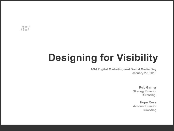 Designing Websites for Visibility, Rob Garner at the Association of National Advertisers conference, 2010