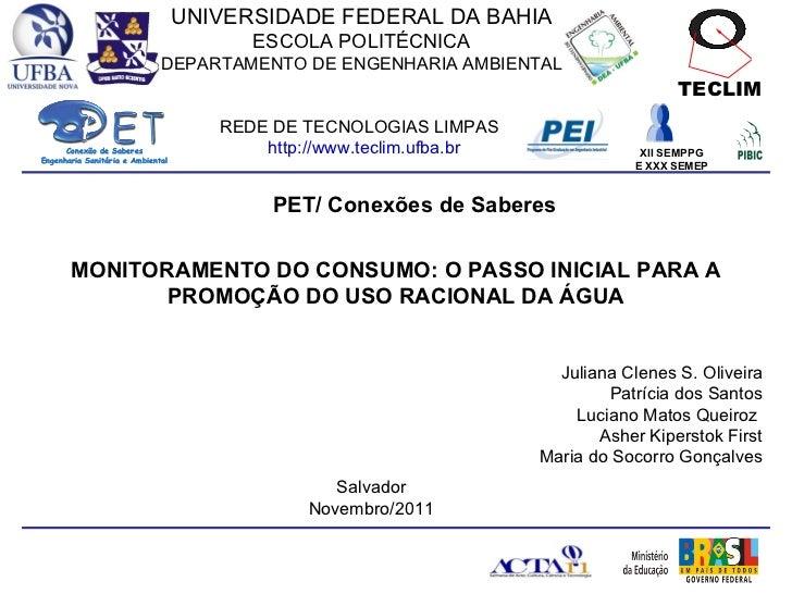 Monitoramento do consumo: o passo inicial para a promoção do uso racional da água - PET Ambiental