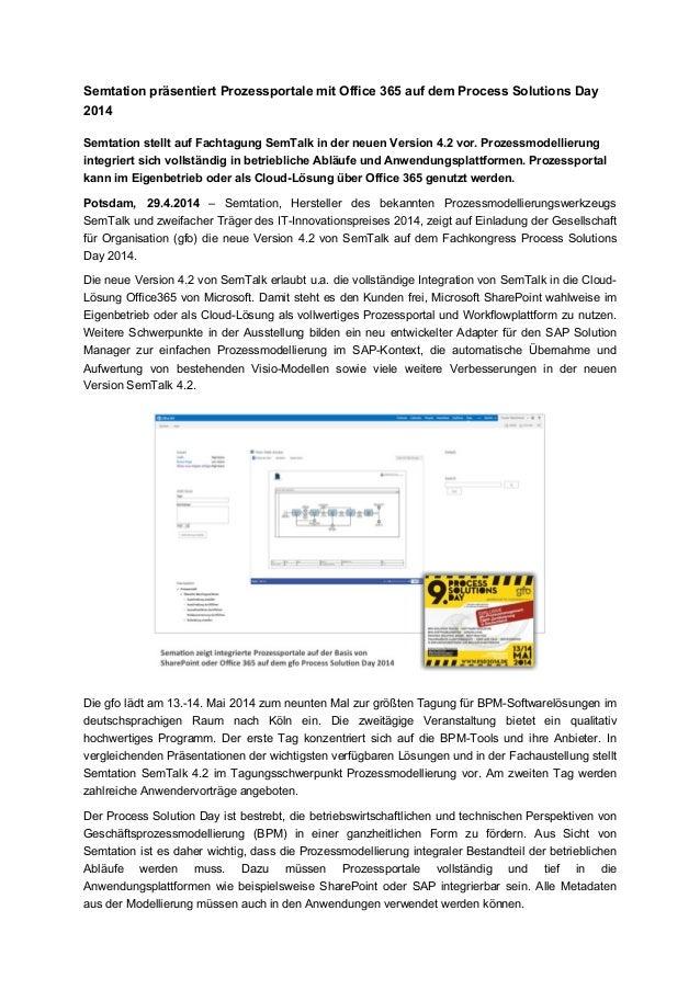 Semtation präsentiert Prozessportale mit Office 365 auf dem Process Solutions Day 2014 Semtation stellt auf Fachtagung Sem...