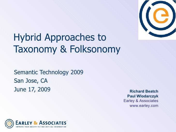 Hybrid Approaches to  Taxonomy & Folksonomy   Semantic Technology 2009 San Jose, CA June 17, 2009  Richard Beatch Paul Wlo...
