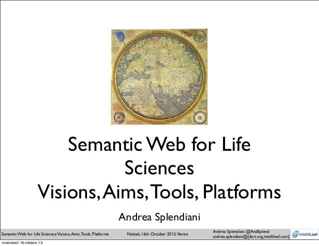 Semantic Web for Life Sciences: vision, aims, tools, platforms