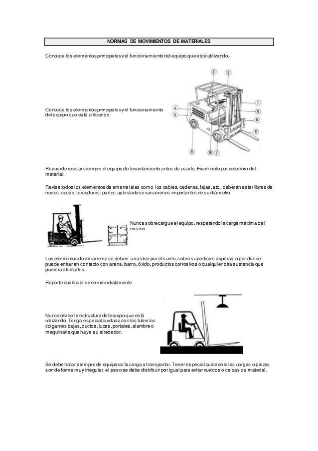 NORMAS DE MOVIMIENTOS DE MATERIALES Conozca los elementos principales yel funcionamiento del equipo que está utilizando. C...