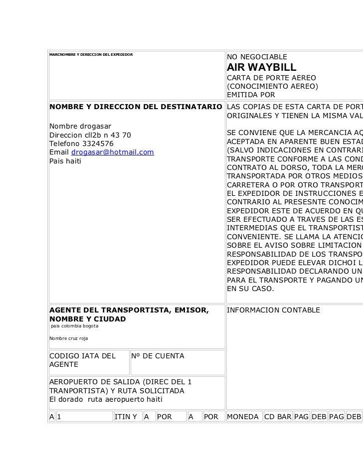 MARCNOMBRE Y DIRECCION DEL EXPEDIDOR                                                            NO NEGOCIABLE             ...
