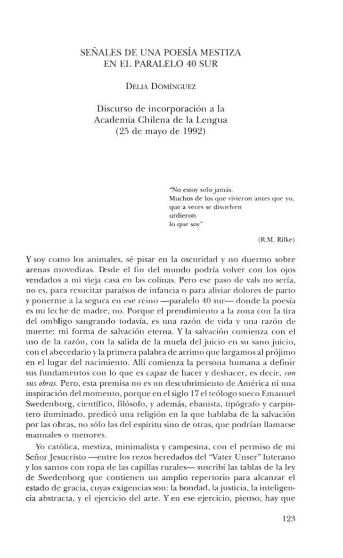 SENALES DE UNA POESÍA   MESTIZA                     EN EL PARALELO 40 SUR                            DELIADOMíNGUEZ       ...