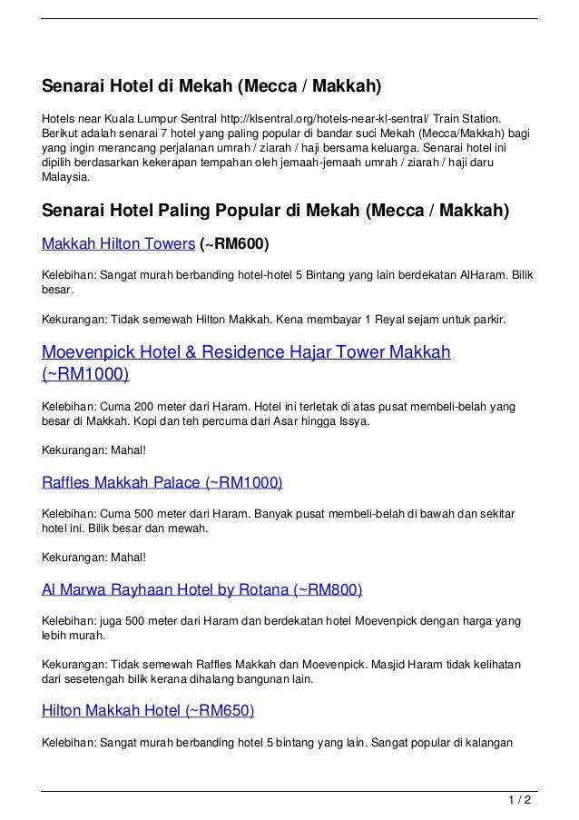Senarai Hotel di Mekah (Mecca / Makkah)