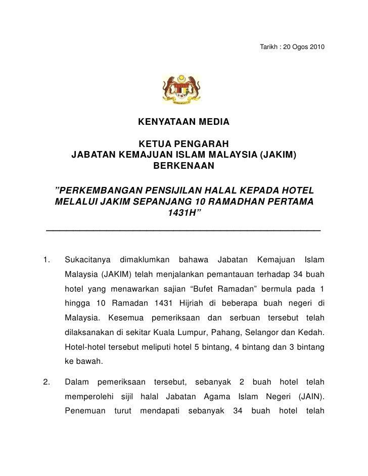 Senarai Hotel Yg Tidak Menepati Piawaian Halal 2010