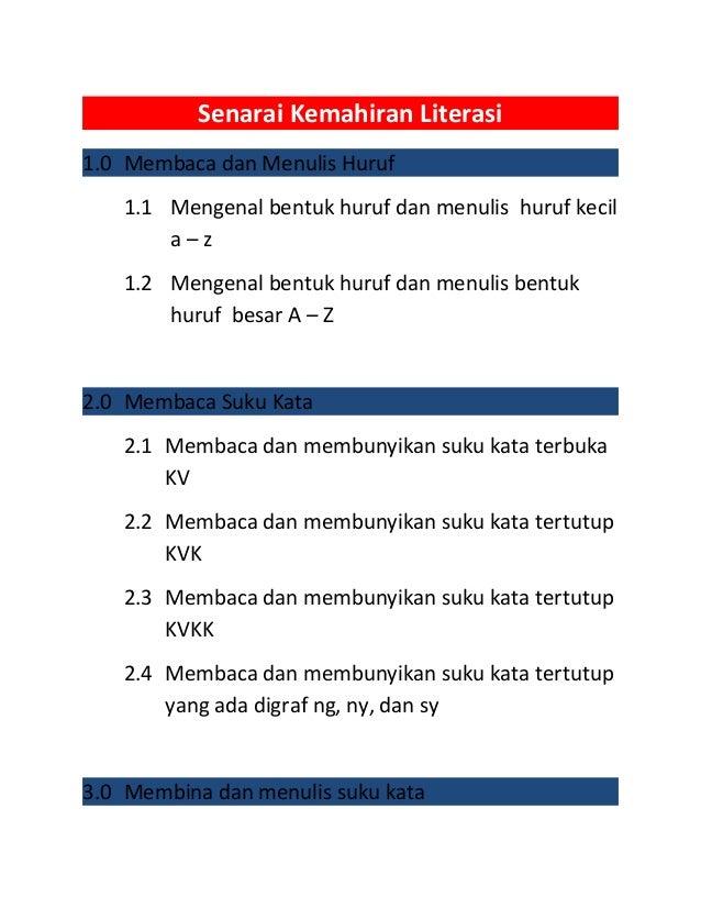 Senarai kemahiran LINUS LITERASI