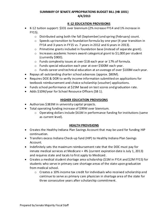 SUMMARY OF SENATE APPROPRIATIONS BUDGET BILL (HB 1001)                                     4/4/2013                       ...
