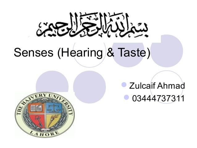 Senses (Hearing & Taste)                  Zulcaif Ahmad                  03444737311