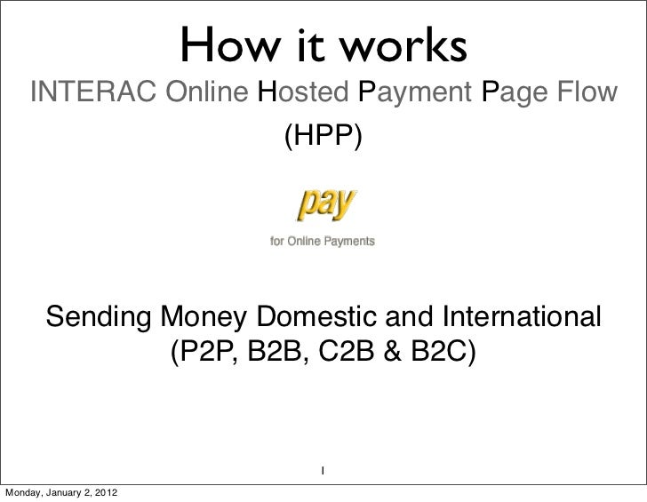 How it works    INTERAC Online Hosted Payment Page Flow                    (HPP)        Sending Money Domestic and Interna...