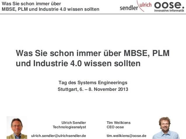 Was Sie schon immer über MBSE, PLM und Industrie 4.0 wissen sollten