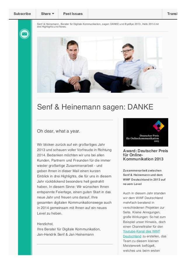 Subscribe  Share  Past Issues  Translate  Senf & Heinemann, Berater für Digitale Kommunikation, sagen DANKE und ByeBye 201...