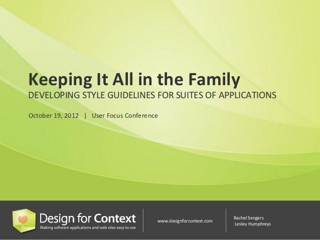 Developing Guidelines for Suites of Application (Rachel Sengers & Lesley Humphreys)