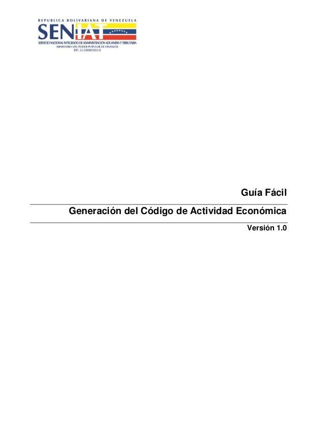 Seniat guia de generacion de codigo de actividad economica -Codigo CIIU -