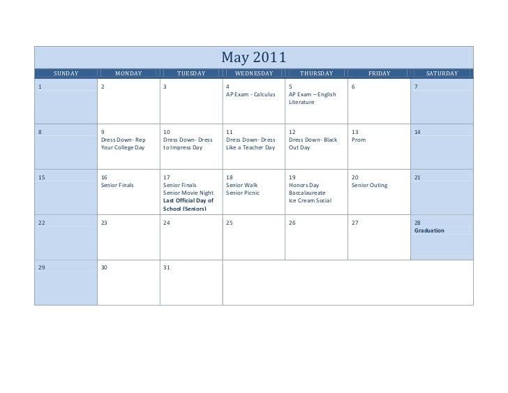 Senior calendar -2011