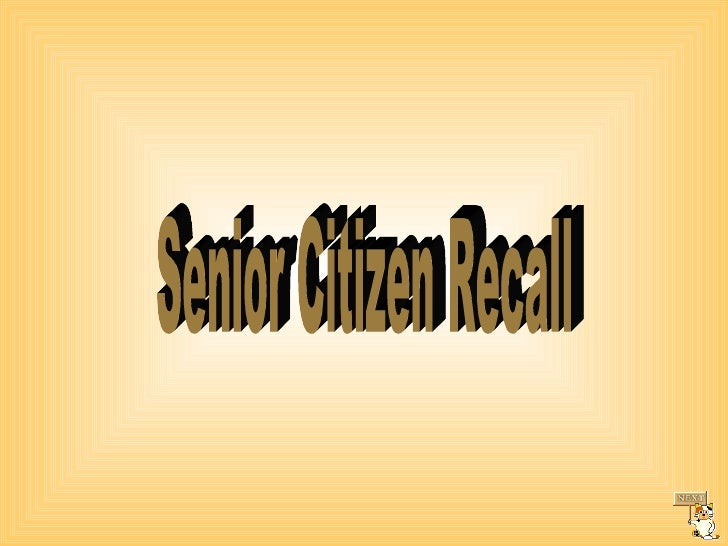 Senior Citizen Recall