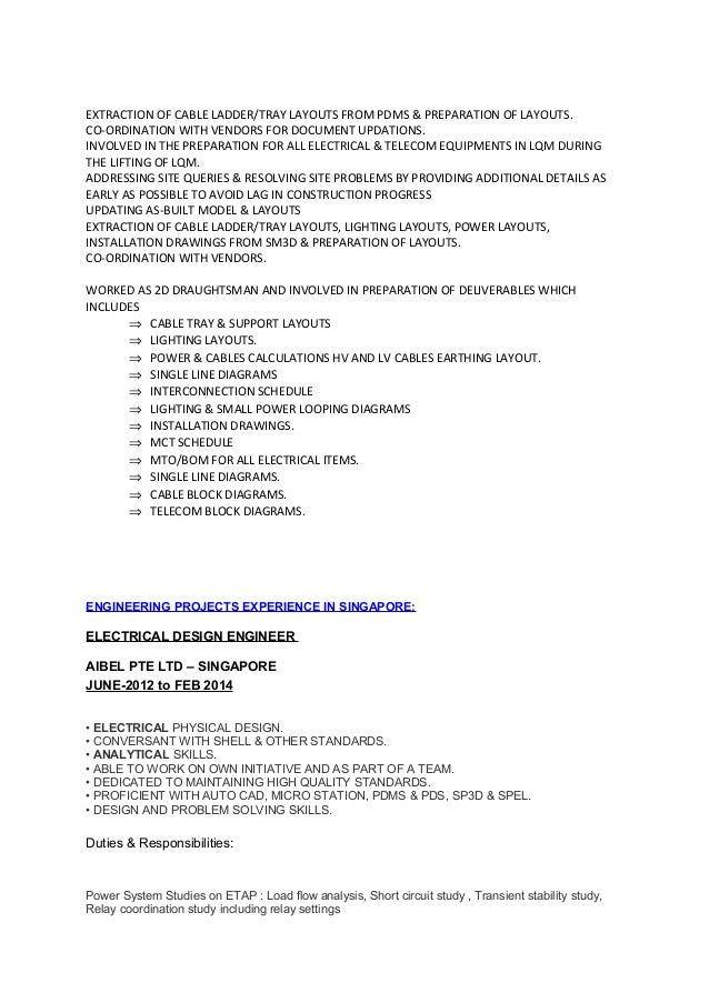 senior electrical engineer resume