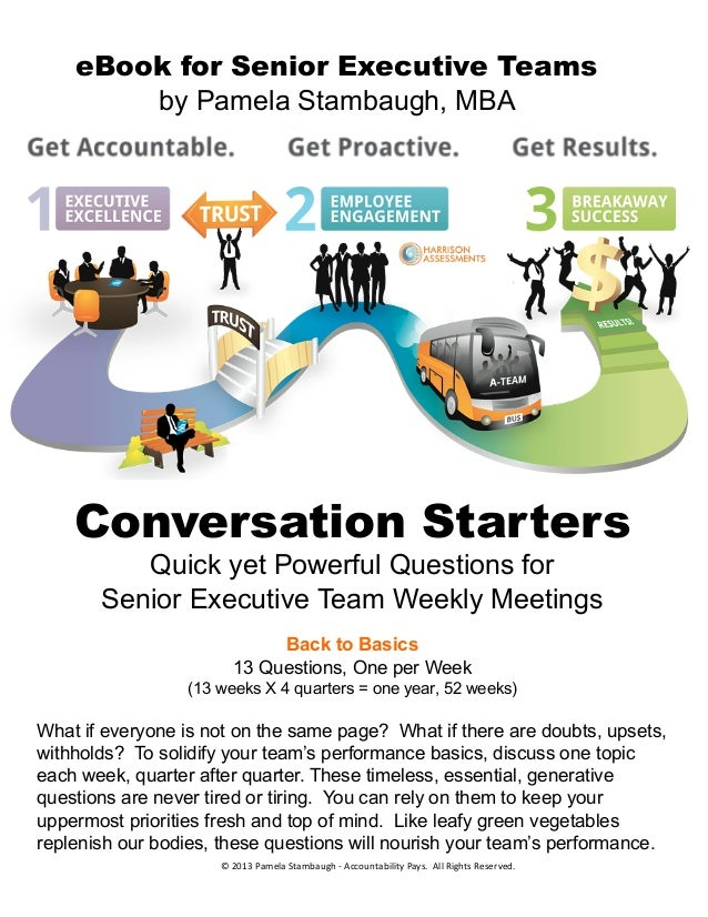 eBook for Senior Executive Teams by Pamela Stambaugh, MBA Conversation Starters Quick yet Powerful Questions for Senior Ex...