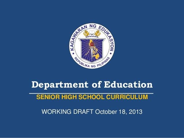 senior high school curriculum palawan pafte 18 oct 2013