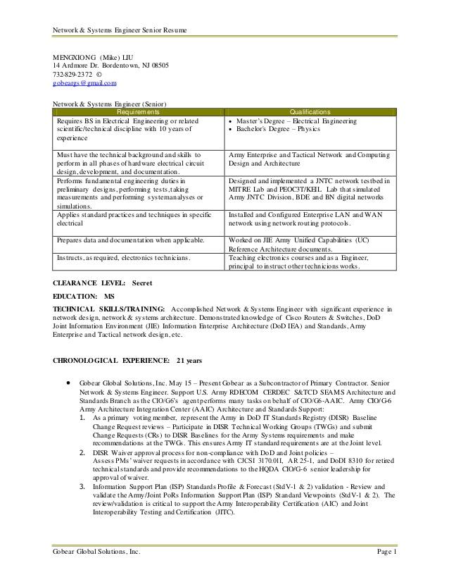 senior network systems engineer resume mike liu