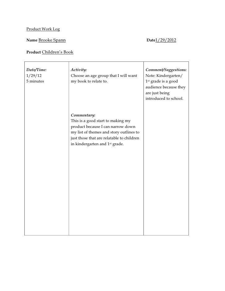 Senior project product work log