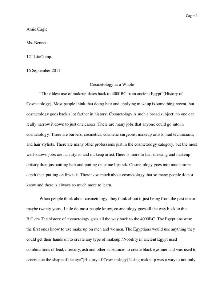 Cosmetology english report essay