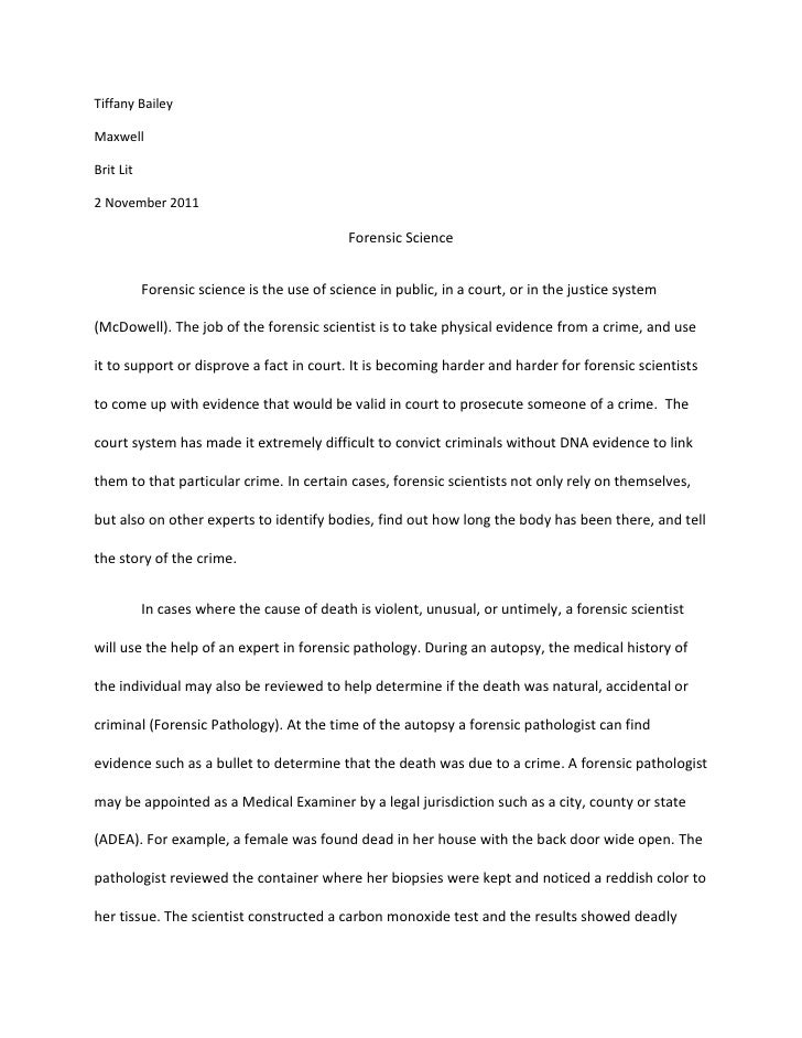 Forensic scientist research paper