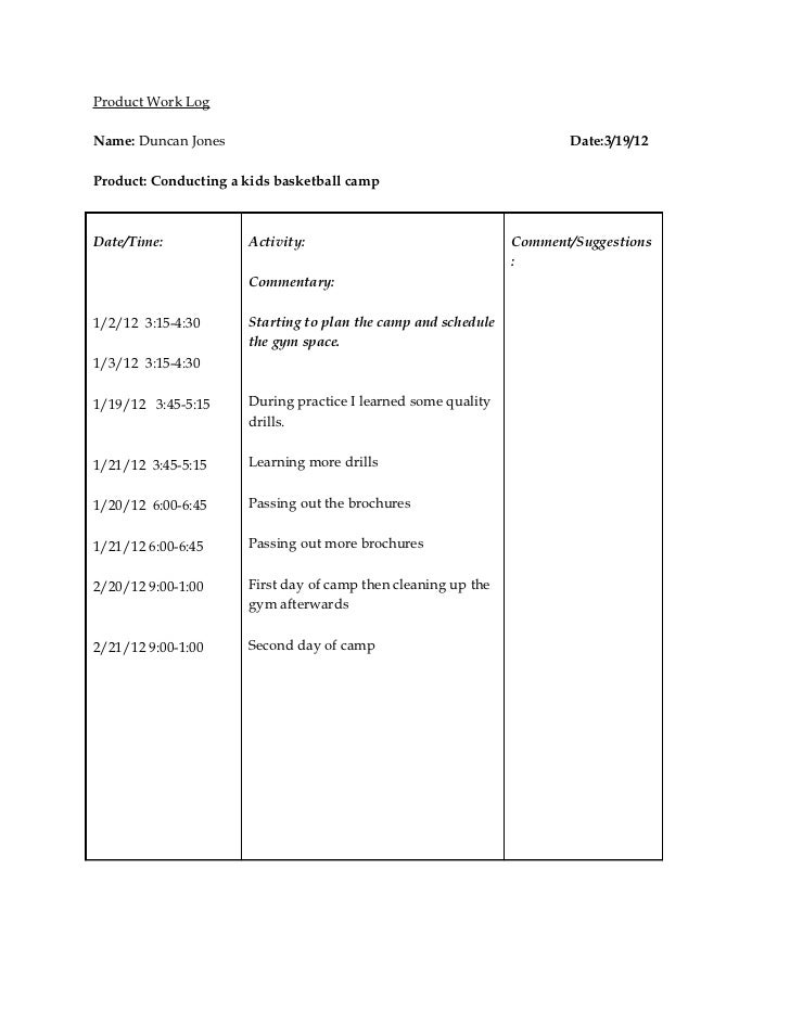 Senior project work log