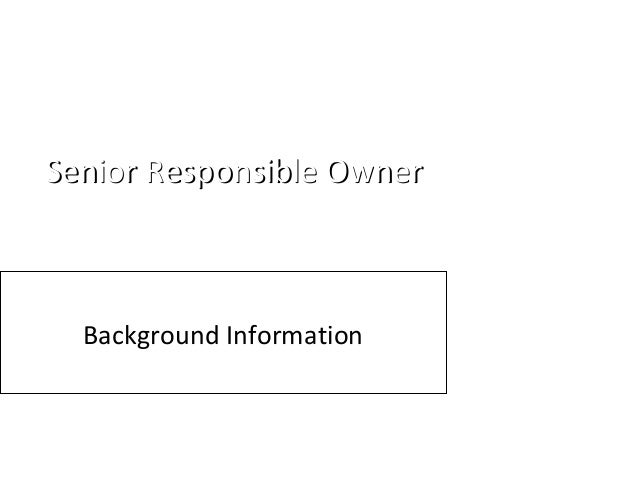 Senior Responsible OwnerSenior Responsible Owner Background Information