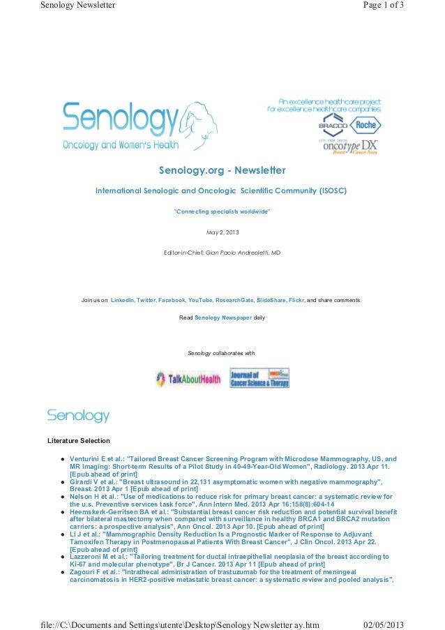 Senology Newsletter - May 2, 2013
