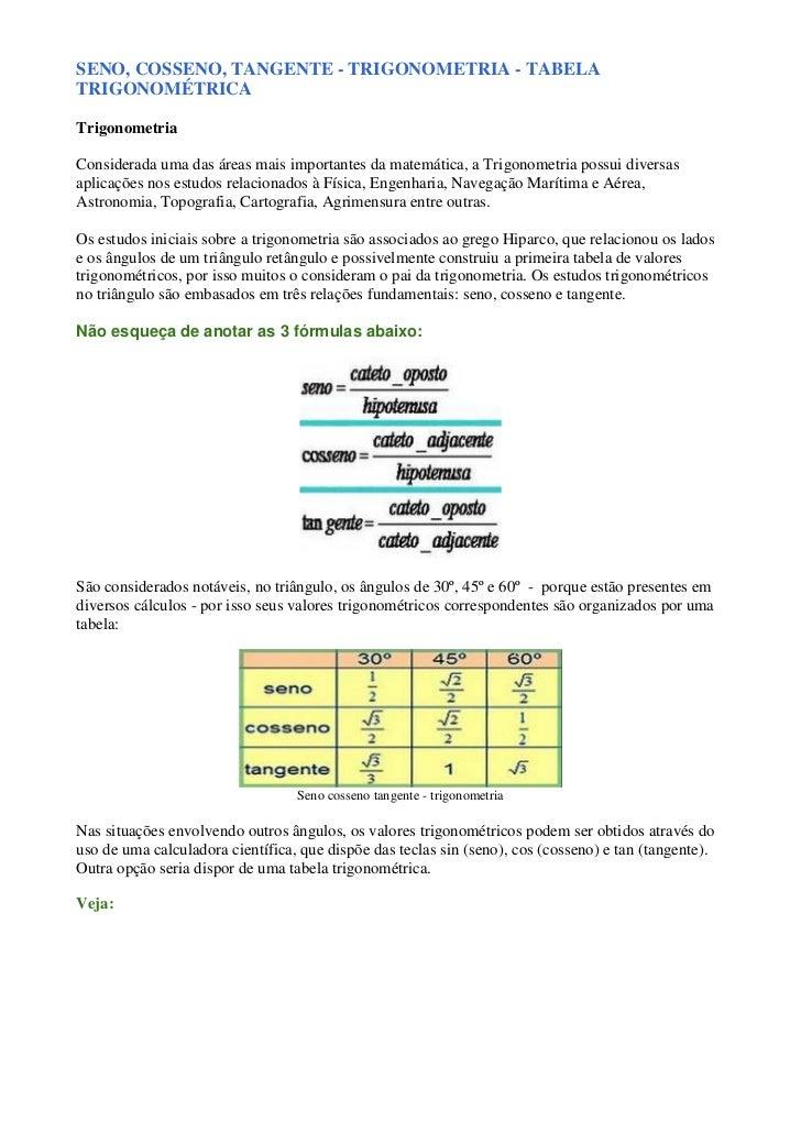 Seno, cosseno, tangente   trigonometria - tabela trigonométrica