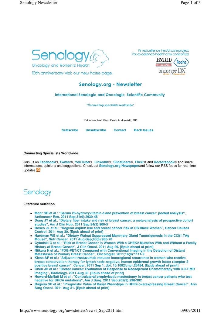 Senology.org Newsletter - September 9, 2011