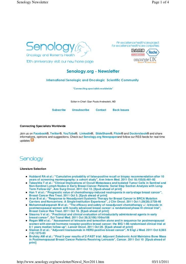 Senology.org Newsletter - November 3, 2011