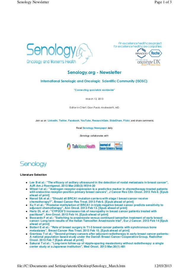 Senology Newsletter - March 12, 2013
