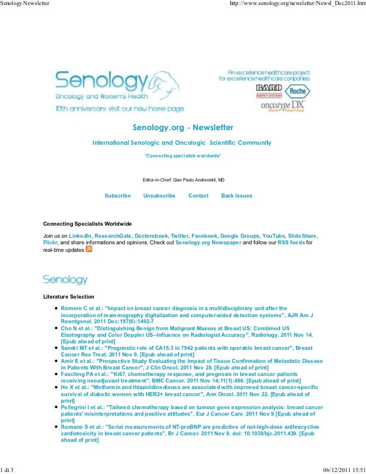 Senology Newsletter                                                                                 http://www.senology.or...
