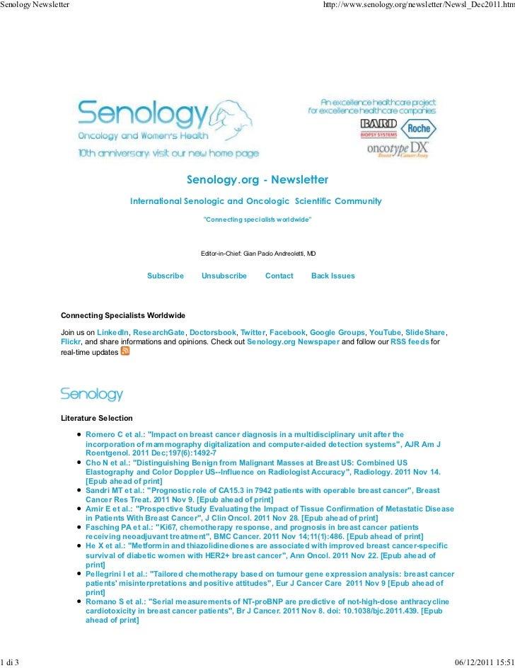 Senology.org Newsletter - December 6, 2011