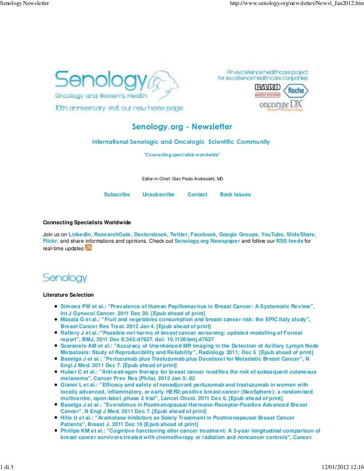 Senology Newsletter                                                                                 http://www.senology.or...