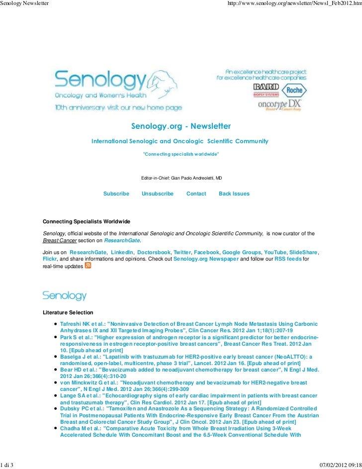 Senology Newsletter - February 7, 2012