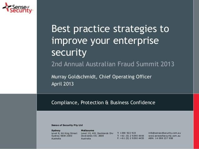 Sense of Security Best practice strategies to improve your enterprise security
