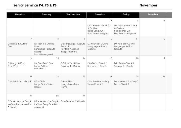 Senior Semar Calendar 2011 Semester 1