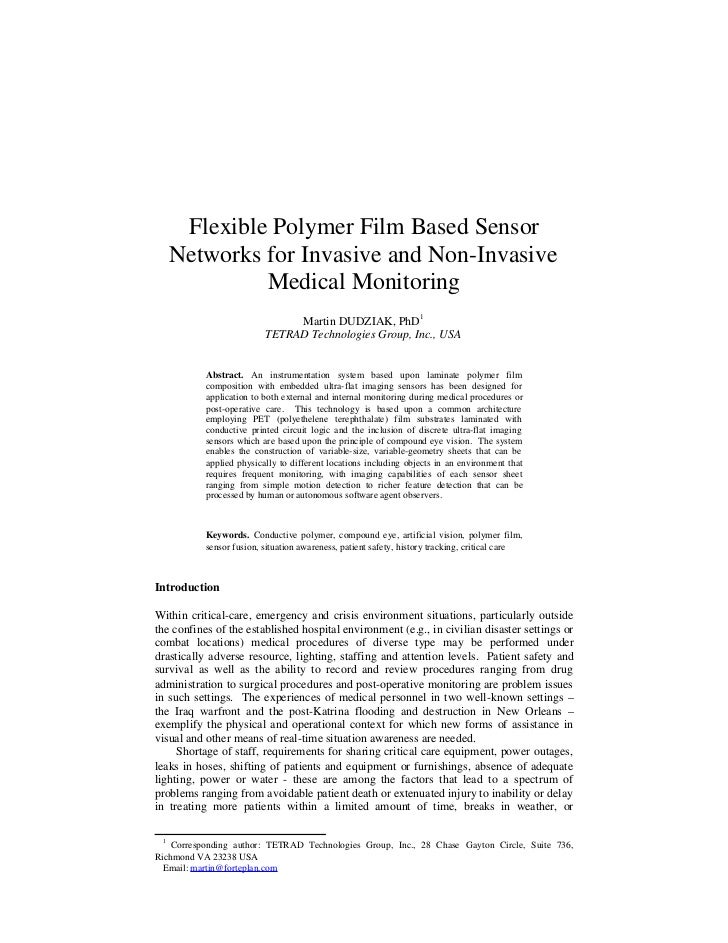 Flexible Polymer Film Based Sensor   Networks for Invasive and Non-Invasive            Medical Monitoring                 ...