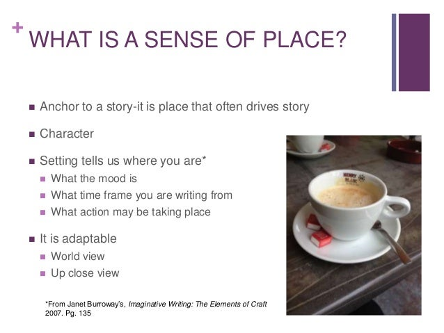 sense of place essay And then it try to compare them to find their relationship what will come eventually is that place attachment is one of the sense of place subsets.