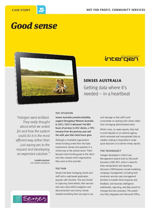 Not for profit, community services  case study  Good sense  SENSES AUSTRALIA  Getting data where it's needed – in a heartb...