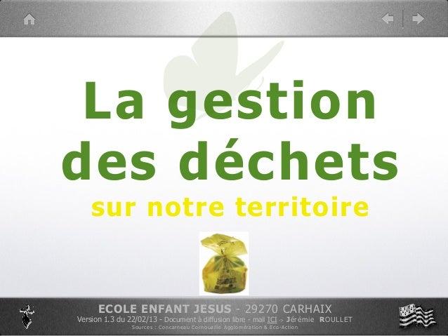 La gestiondes déchets    sur notre territoire      ECOLE ENFANT JESUS - 29270 CARHAIXVersion 1.3 du 22/02/13 - Document à ...